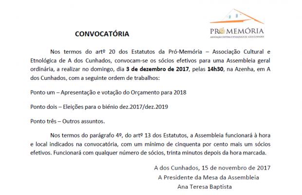 Assembleia Geral – 3 de dezembro de 2017